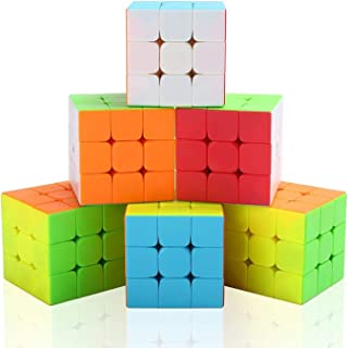 Vdealen Cube Set, 3x3x3 Cube Magique Cube Puzzle Professionnel Cube Set Jouet Grand Cadeau pour Enfant -6 Pack (Pas d'auto...