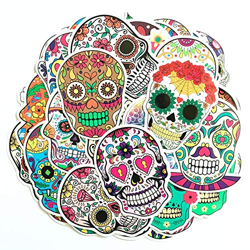 Hybsk Sugar Skull Stickers Laptop Skull Decals Dia de Los Muertos Mexican Day of The Dead Sticker Bomb Water Bottle Luggage Bike Computer Skateboard Vinyl Decal (50 Pack)