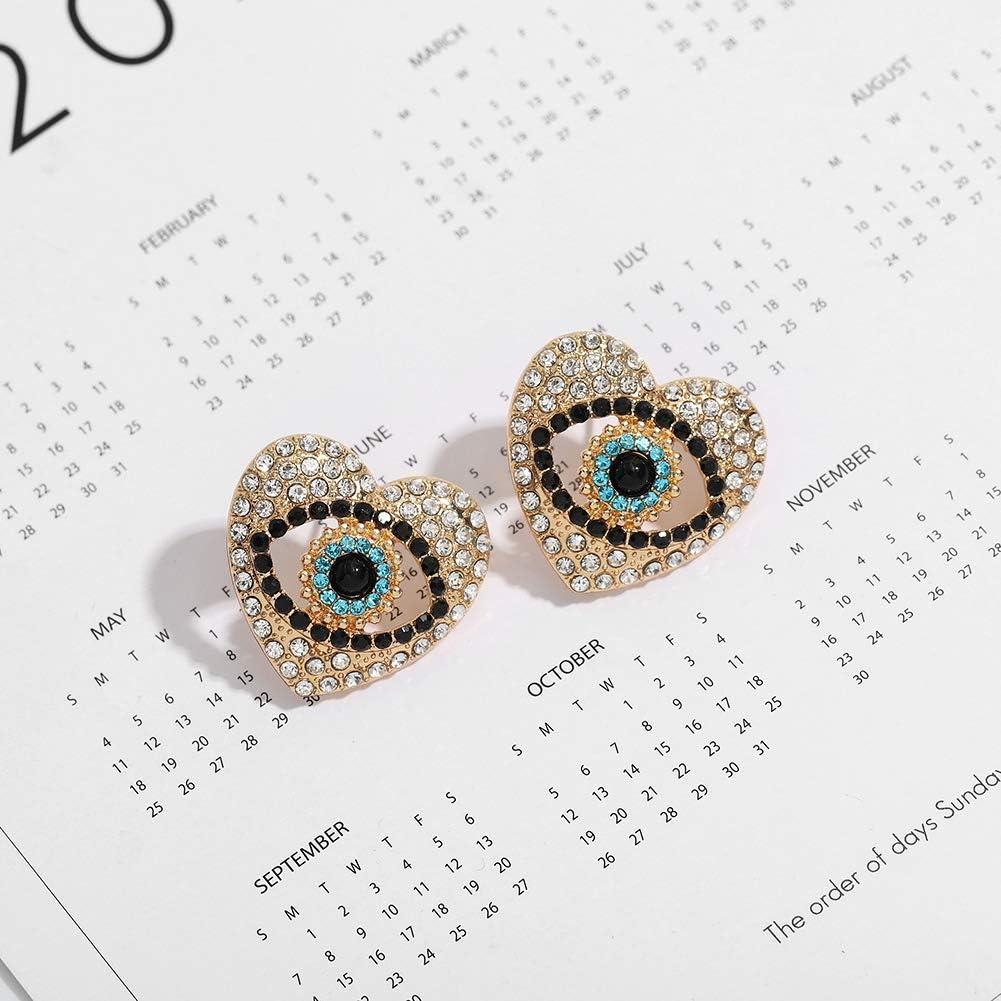 Blue Evil Eye Hypoallergenic Pearl Heart Stud Earrings for Women, Gold Plated Cubic Zirconia Statement Stud Earrings Jewelry Gift