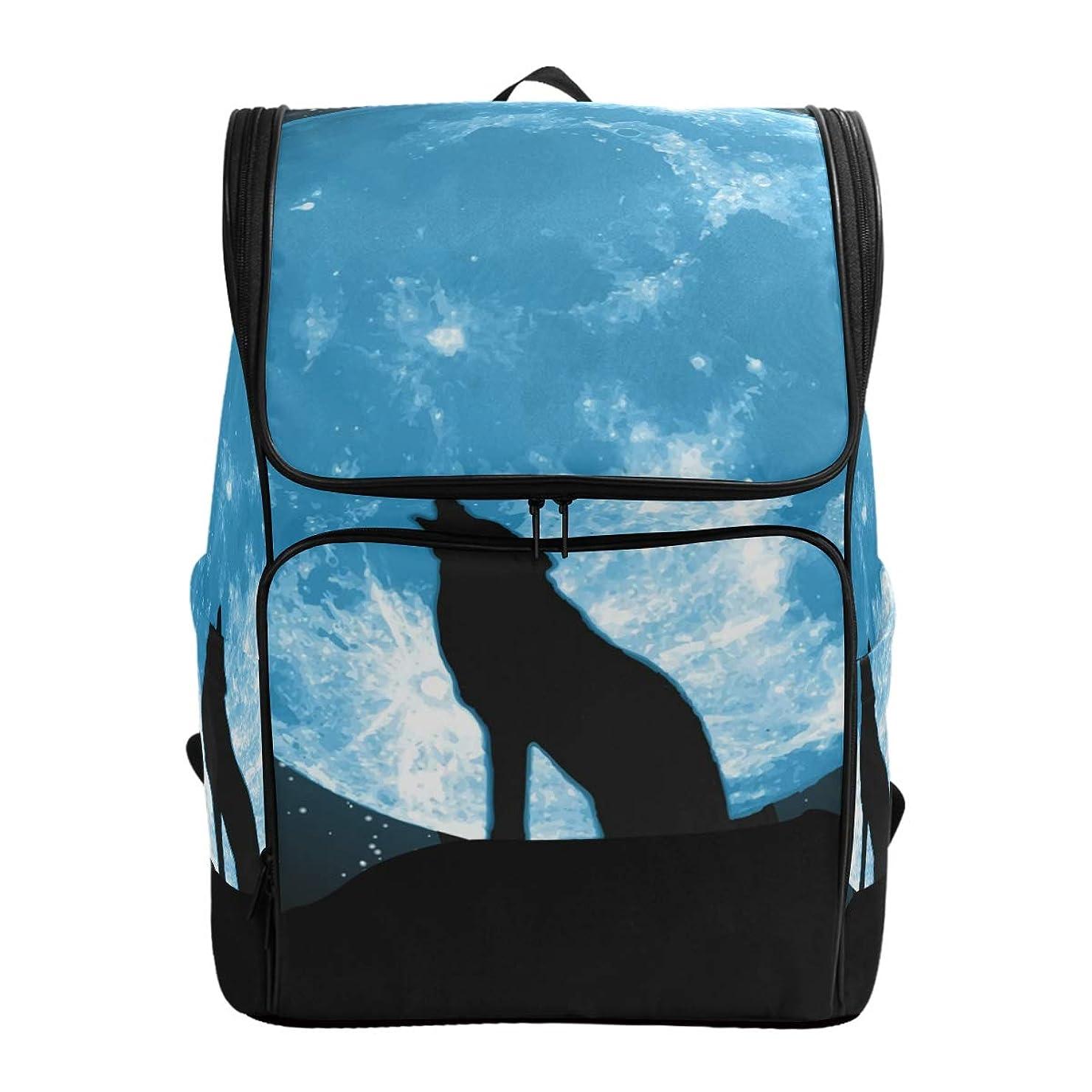 風変わりな魅了する巨大マキク(MAKIKU) リュック 大容量 リュックサック オオカミ 星柄 ブラック レディーズ メンズ 登山 通学 通勤 旅行 プレゼント対応