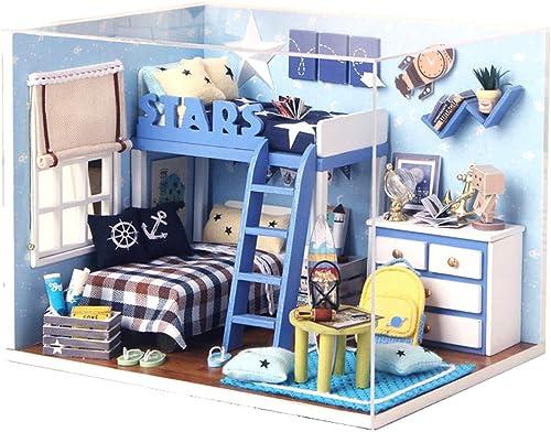 encuentra tu favorito aquí SJZC DIY Casa De muñecas De De De Madera Hecho A Maño Casa Mini Muebles Rompecabezas del Juguete añornos muñeca Kit Casas 1447  de moda