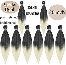 MYCHANSON 8Pcs EASY Braiding Hair Professional Pre-Stretched Braids hair Itch Free Braiding Hair Yaki Synthetic fiber Hair Braids for Women 26