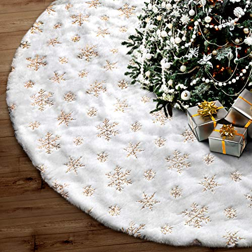 FantaspicSeriesTree Skirt, 48 inches Snowy White Faux Fur Christmas Party Decorations Indoor Outdoor New Year Holiday Festival Ornament Supplies