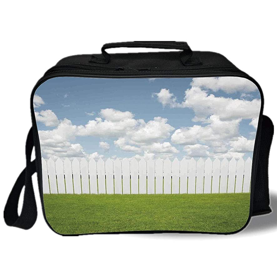 Insulated Lunch Bag,Farm House Decor,Exquisite Sykline with Clouds over a Meadow Tranquil Place Relax Print,Green White,for Work/School/Picnic, Grey