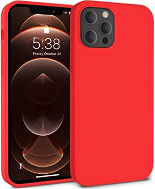 GMUDA Compatible with iPhone 12 Pro Max Case, Liquid Silicone Shockproof Drop Protection Cover for 6.7inch - Red
