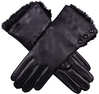 Dents Womens Sophie Fur Cuff Hairsheep Leather Gloves - Black
