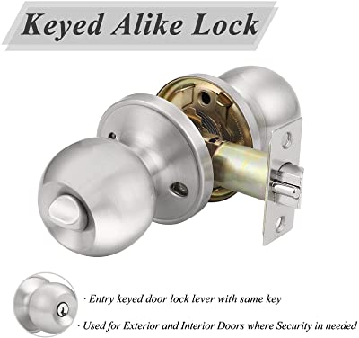 Probrico Satin Nickel One Keyway Ball Door Knobs Entry Lock with Keys, 3 Pack Keyed Alike Door Locksets, Interior Exterior Keyed Hardware
