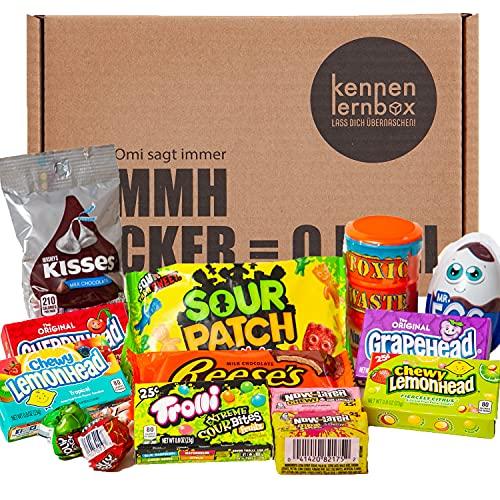 Süßes & Saures | Kennenlernbox mit 14 beliebten Süßigkeiten aus Amerika | Geschenkidee für besondere Anlässe wie Geburtstage