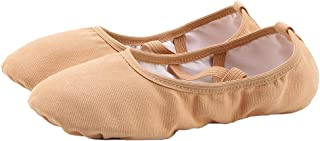 staychicfashion Women's Canvas Ballet Slippers Practice Yoga Flat Shoes Split Belly Shoes(8, Tan Band)