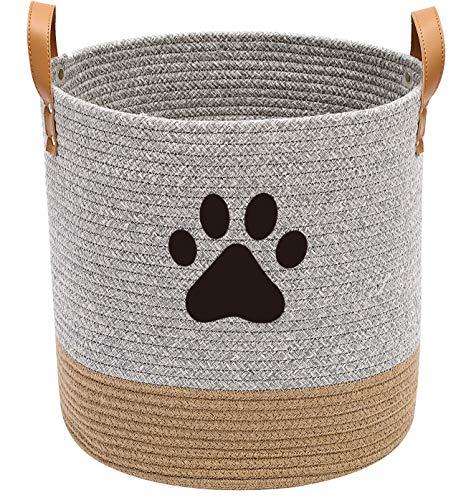 Cotton Rope Dog Toy Basket, Puppy Toy Basket, Puppy Bins, Laundry Basket Blanket Storage bin - Perfect for organizing pet Toys, Blankets, leashes - Gray Khaki