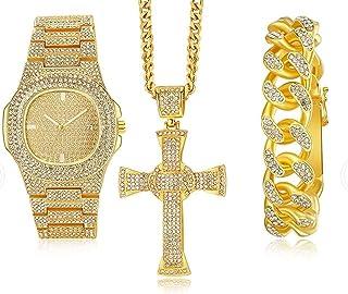 ساعة رجالي فاخرة ذهبية فضية اللون ساعة هيب هوب للرجال بسوار وعقد مجموعة مجمعة من الجليد ساعة هيب هوب للرجال