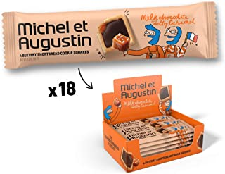 Michel et Augustin Chocolate French Cookie Squares | Milk Chocolate Caramel Pure Butter Shortbread | 18 Count