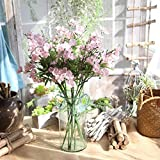 OHQ-Fausse Fleur Decoration Décoration Blanche Bleu Rose À Suspendre avec Vase Bouquet Boite Boule Cerisier Cheveux Cimetiere Coton Champetre Mariage Deco De Tiaré Soie Exterieur Exotique (B)