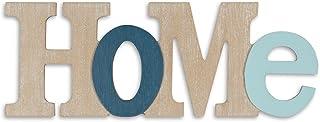 levandeo 3D Inscription Home Bleu 35 x 13 cm Bois naturel lettres Déco.