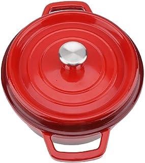 Cazuela Horno HolandéS Olla De Hierro Fundido Antiadherente Esmaltada Olla Con Asas Dobles Olla De Cocina, Diamete 26Cm-rojo