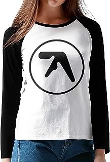 HAIGUANGZ Design Aphex Twin Baseball Tshirts Long Sleeve for Womens Black