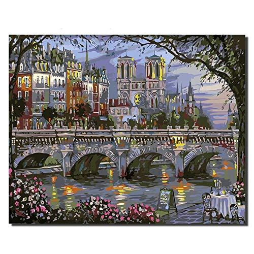 Peinture Usine Ville Nuit Café en Plein Air Peinture par Chiffres Maison Moderne Mur Art Acrylique sur Toile Peint À La Main Gift40x50cm Cadeau Pas de Cadre