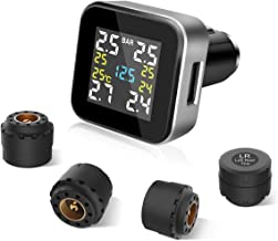 Tymate TPMS Wireless Tire Pressure Monitoring System with 4pcs External Sensors (0-6.0 BAR/0-87 PSI) and 2.1A USB Charging Port, Real-time Displays 4 Tires' Pressure, Temperature and Alarm Function