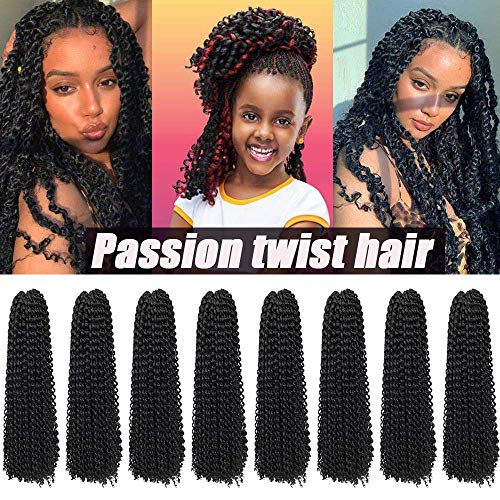 8 Packs Passion Twist Hair 22 Inch Freetress Water Wave Crochet Hair for Black Women, Premium Passion Twist Crochet Hair Braids Fluffy Spring Twist hair Long Bohemian Braiding Hair Extensions (1B)