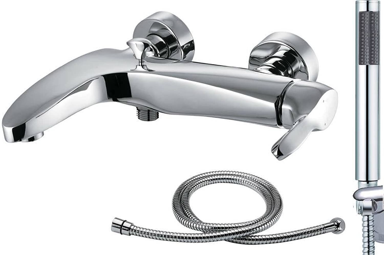 Bath Bathroom Wall Mounted Shower Mixer Chrome Shower Head 1.5m Hose (Spree 4)