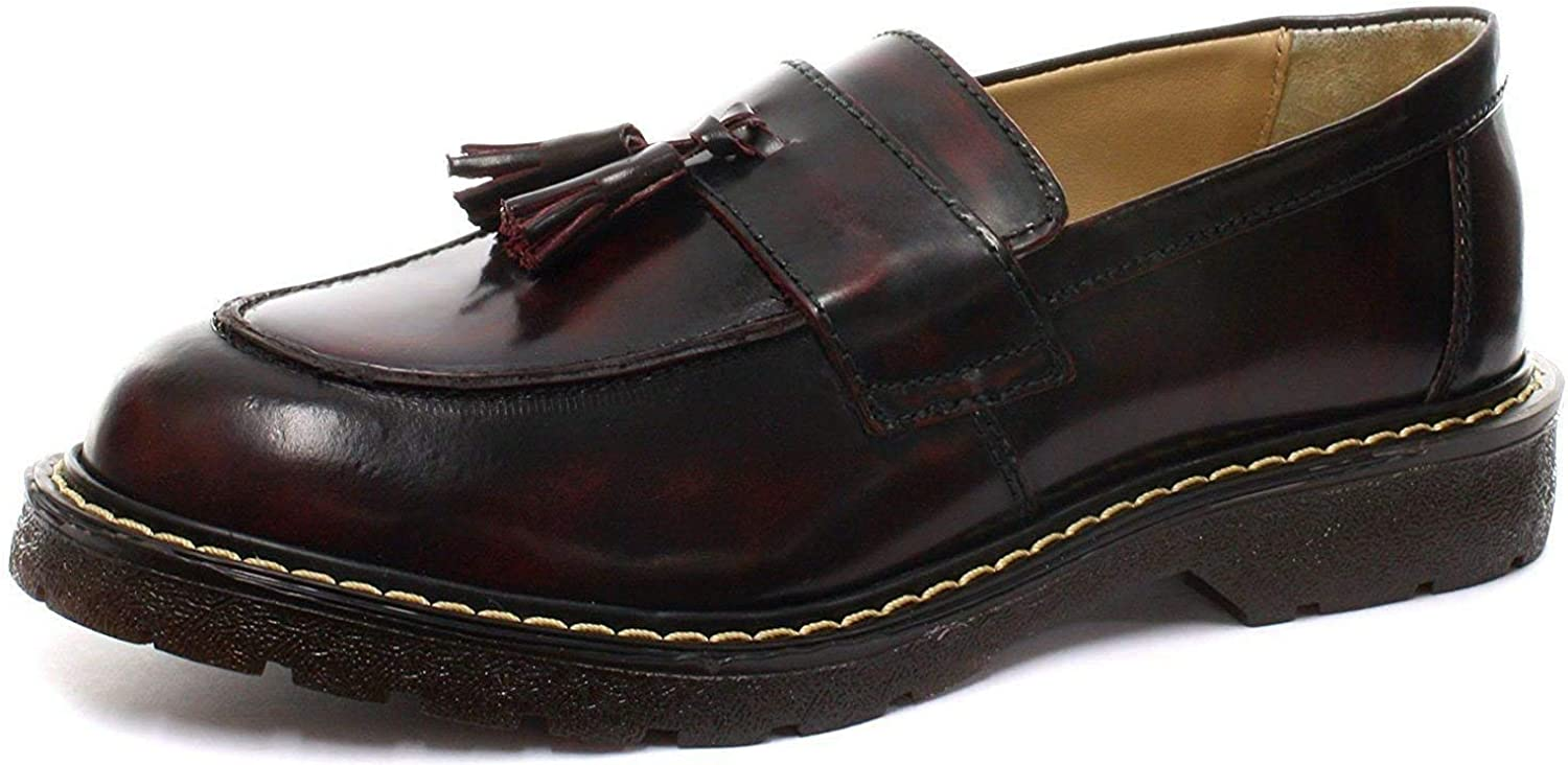 Grinders Cuthbert Burgandy Leather American Tassle Loafer Air Cushioned Sole