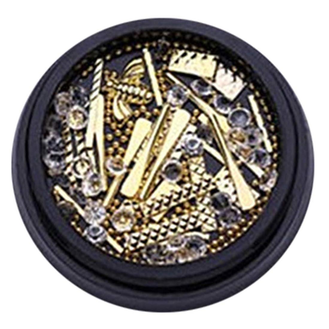 織機依存する領域hamulekfae-和風可愛い人気ブラクケア金属バー長方形リベットネイルアート宝石ラインストーンデコレーションホイールDIYのヒント - ゴールデンGolden