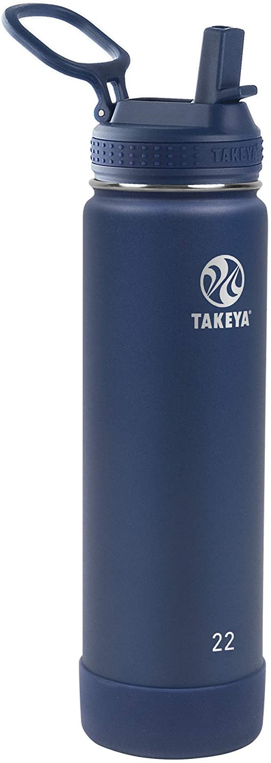 Takeya Actives Insulated Water Bottle Arlington Mall Straw 22 Lid w Midnight Shipping included