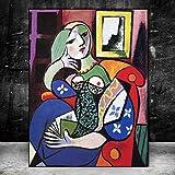 Frau mit Buch von Picasso Pictures Leinwandbilder Wandkunst