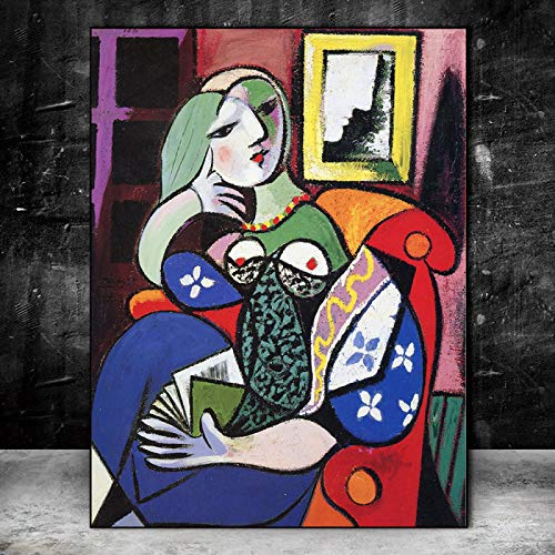 Canvas Wall Art Picasso Famous Paintings Replica Woman With Book Posters And Prints Surrealism Pictures For Living Room Decor-40x50cm No Frame