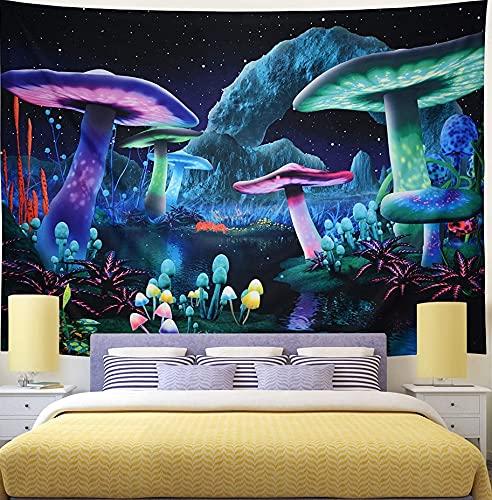 KHKJ Bohemia Mandala Mushroom Tapiz Cabecero Arte de la Pared Colcha Dormitorio Tapiz A6 150x130cm