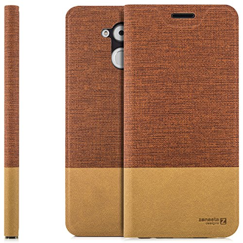 zanasta Tasche kompatibel mit Huawei Honor 6C Pro mit Kartenfach Hülle Flip Hülle Slim Schutzhülle Handytasche, Standfunktion | Rotbraun