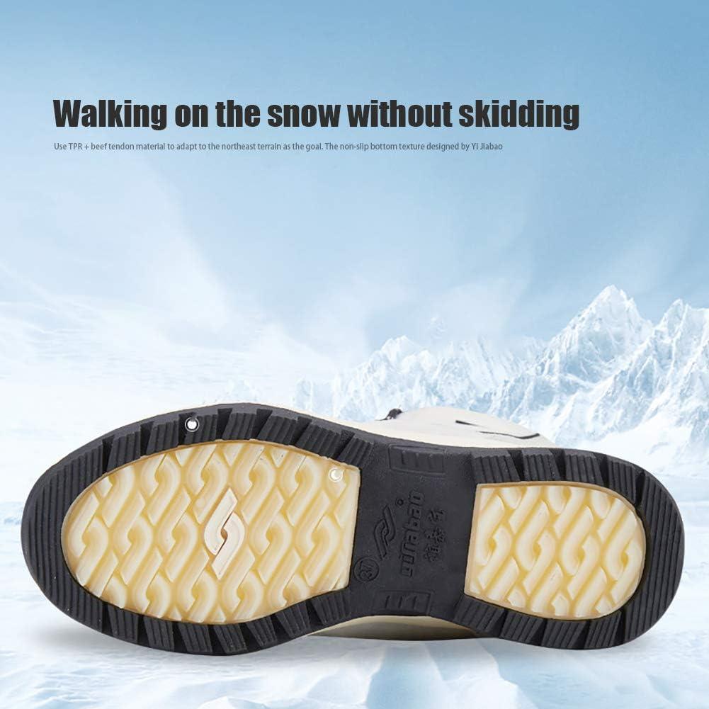 Magnifier Damen Schneeschuhe Pelz Warm Wasserdicht Bequem Slip On Outdoor Winterschuhe zum Spazierengehen Bergsteigen Camping,Schwarz,38 Wandern