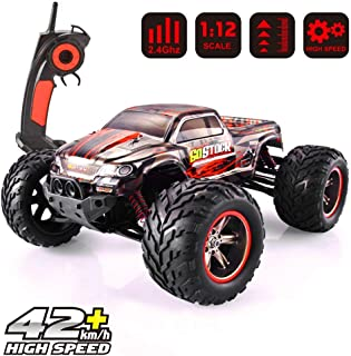 GoStock Remote Control Car, High Speed 42 km/h RC Car with 1:12 Scale Electric Monster Truck 2WD Off Road Car 2.4 Ghz Radio Remote Control Vehicle for RC Hobby