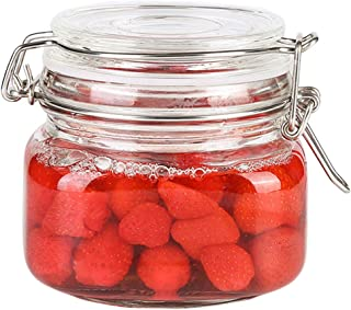Yardwe 500ML Clip Top Glass Jars Storage Preserving Jars Clear Container Mason Jar