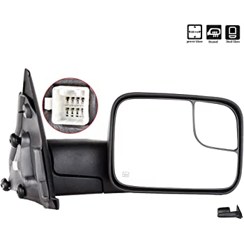 LSAILON Tow Mirrors Towing Mirrors Fit for 2002-2008 Dodge Ram 1500 2003-2009 Dodge Ram 2500//3500 with Left and Right Side Power Control Heated Without Turn Signal Light