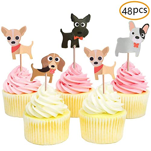 Dog Cupcake ToppersPuppy ToppersPet Theme Baby Shower Birthday Party Decoration