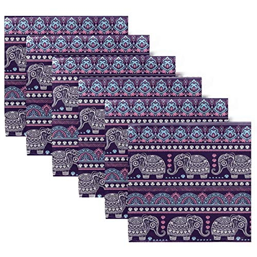 Servilletas de Tela Lindas servilletas de Cena de Elefante étnico de Indiana Lotus, Juego de 6, servilletas de Mesa Reutilizables para cócteles, Vacaciones, Bodas, hogar, decoración