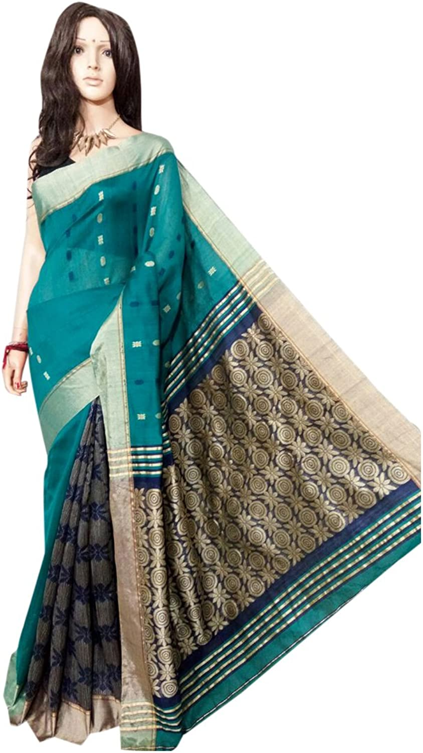 Handloom Silk Handwork Saree Ethnic Indian Beautiful Zari Pallu Traditional Sari with Blouse Piece handmade Bengal Weavers 103