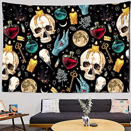 Tapiz de calavera colgante de pared mandala psicodélico negro bohemio hippie tapiz decoración de la habitación de tela