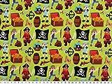 Baumwolljersey, Piraten, maigrün-mehrfarbig, 150cm