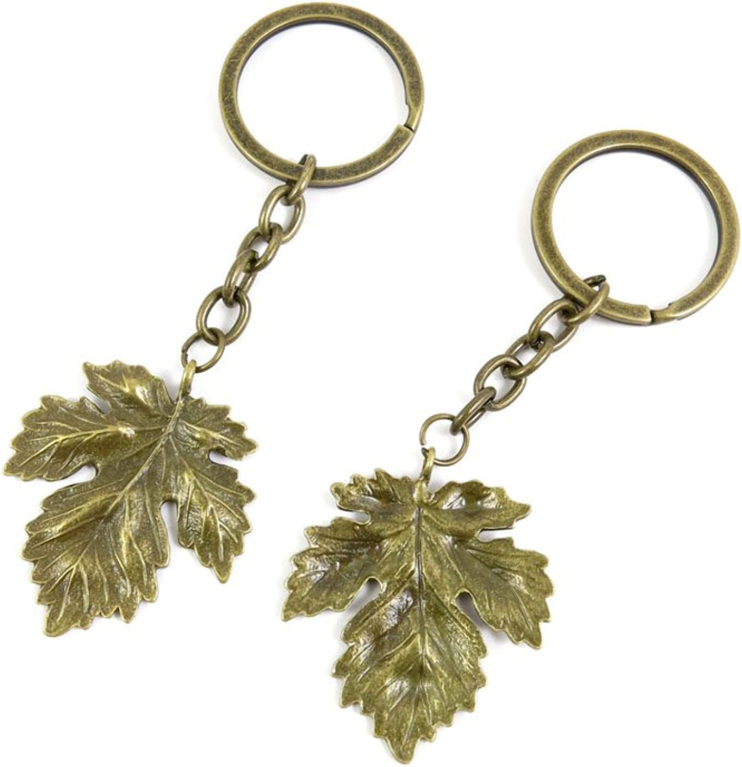 100 PCS Keyrings Keychains Key Ring Chains Tags Jewelry Findings Clasps Buckles Supplies G8EX6 Big Leaf