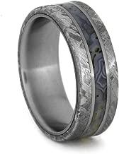 Gibeon Meteorite, Dinosaur Bone 7mm Comfort-Fit Matte Titanium Wedding Band