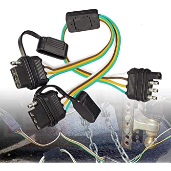 Amazon.com: BlyilyB 1-Pack Flat 4 Pin Y-Splitter Trailer Extension Harness  Connector With Dust Caps For LED Tailgate Light Bar Trailers: AutomotiveAmazon.com