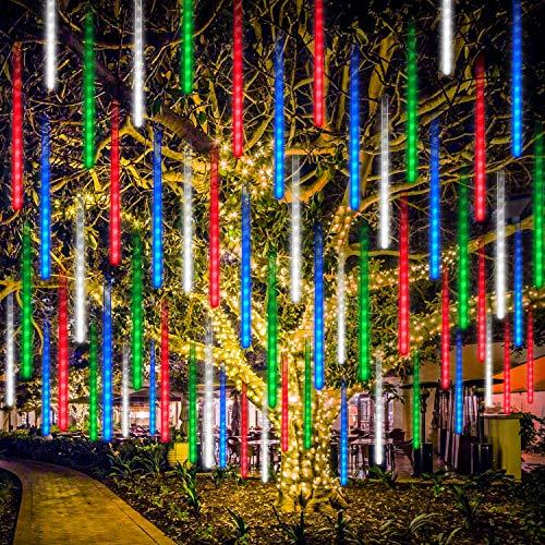 Meteorschauer Regen Lichter LED, Rilitor LED Meteorschauer Lichterkette USB 30cm 8 Tubes 192 LEDs IP65 Wasserdichte Schneefall Lichterkette für Garten/Hochzeit/Party/Weihnachten Dekoration-Bunt