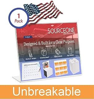 Source One 11 x 8 1/2 Slant Back Clear Acrylic Sign Holder Premium Landscape Ad Frame (1 Pack Unbreakable)