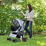 PawHut Pet 4 Wheels Travel Stroller Dog Cat Pushchair Trolley Puppy Jogger Folding Carrier (Grey) 11