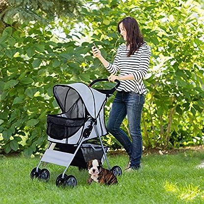 PawHut Pet 4 Wheels Travel Stroller Dog Cat Pushchair Trolley Puppy Jogger Folding Carrier (Grey) 2
