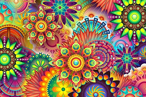XiuTaiLtd Colorful 1000 Pieces Jigsaw Puzzles for Adults, and Kids - Abstract Flowers, Psychedelic Jigsaw Puzzle Games.