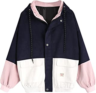 Women Teen Hooded Color Block Corduroy Jacket Long Sleeve Oversized Coat
