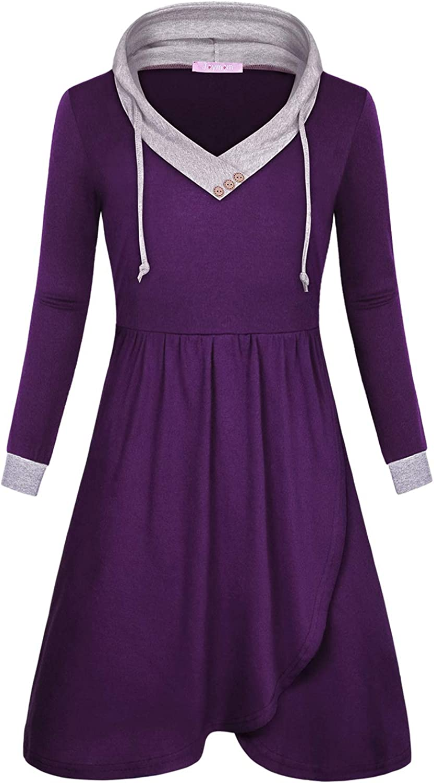 JOYMOM Womens Casual V Neck Long Sleeve Empire Waist Midi Hoodie Dresses